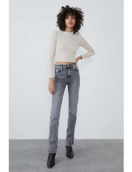 Slim Jeans Med HÖg Midja Split by Zara