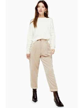 Tall Stone Casual Corduroy Tapered Trousers by Topshop