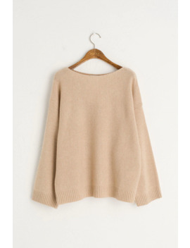 Boat Neck Wool Jumper, Beige by Olive