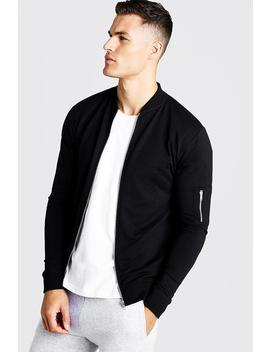Muscle Fit Jersey Bomber Jacket by Boohoo