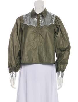 Collar Long Sleeve Button Up Top W/ Tags by Ganni