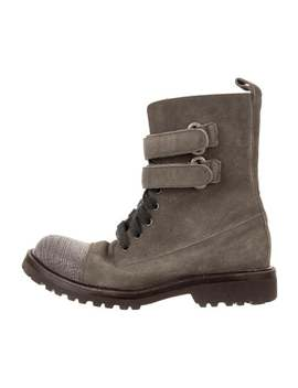 Suede Combat Boots by Brunello Cucinelli