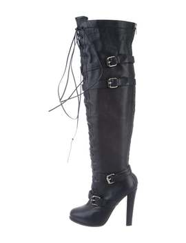 Leather Over The Knee Boots by Tania Spinelli