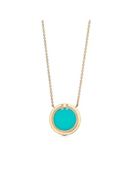 "Tiffany T 												  												  											 										 									 									Two Diamond And Turquoise Circle Pendant In 18k Gold, 16–18"" by Tiffany T"