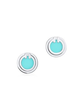 Tiffany T 												  												  											 										 									 									Two Turquoise Circle Earrings In 18k White Gold by Tiffany T