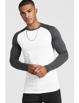 Muscle Fit Long Sleeve Contrast Raglan T Shirt by Boohoo