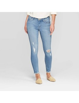 Women's Mid Rise Distressed Skinny Jeans   Universal Thread™ Light Wash by Universal Thread