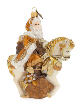 Santa On Horse Glass Christmas Ornament by Jay Strongwater