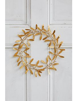 Antiqued Gold Metal Mistletoe Wreath by Anthropologie