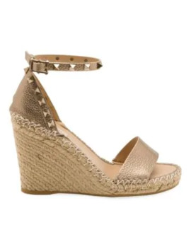 Rockstud Metallic Leather Espadrille Wedge Sandals by Valentino Garavani