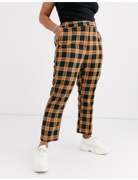Collusion Plus Check Peg Trouser With Print by Collusion