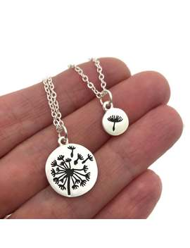 Dandelion Necklace Set, Wish Jewelry, Silver Or Gold Matte Dandelion Necklace With Tiny Dandelion Fluff Charm, Layering Necklace by Etsy