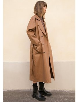 Camel Waxed Finish Trench Coat by The Frankie Shop