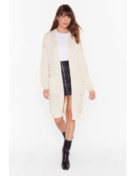 Just Go With Knit Pom Pom Longline Cardigan by Nasty Gal