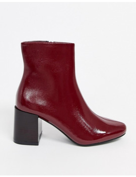 Pimkie Contrast Heel Patent Boots In Red by Pimkie