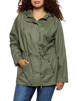 Plus Size Hooded Twill Anorak Jacket by Rainbow