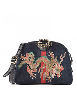 Gucci Suede Dragon Embroidered Small Ophidia Shoulder Bag Blue by Gucci