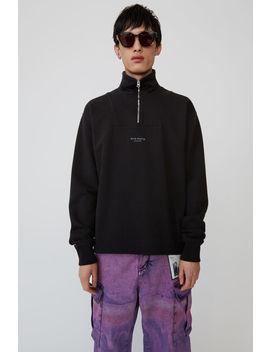 sweatshirt-zippé-à-logo-noir by acne-studios