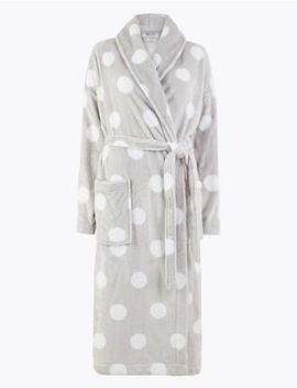 Fleece Polka Dot Dressing Gown With Belt by Marks & Spencer