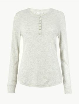 Ribbed Long Sleeved Pyjama Top by Marks & Spencer