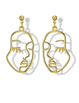 Hollow Face Design Drop Earrings 1pair by Romwe