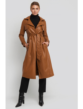 Faux Leather Trenchcoat Brown by Na Kd Trend