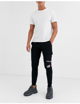Asos Design Tapered Joggers With Los Angeles Print With Cargo Pocket by Asos Design