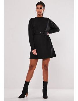 Black Belted Long Sleeve T Shirt Dress by Missguided
