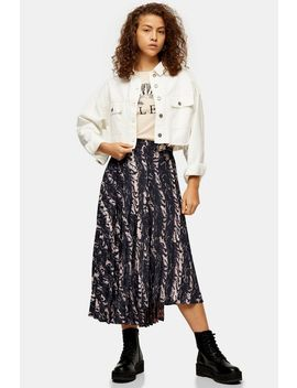 Grey And Pink Warped Print Pleat Midi Skirt by Topshop