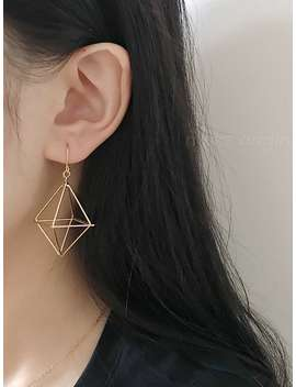 Hollow Geometric Design Drop Earrings 1pair by Romwe
