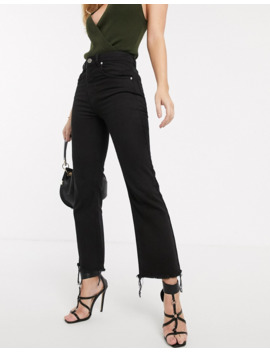 Asos Design   Egerton Rigid   Jeans Cropped A Zampa Nero Slavato Con Orlo Grezzo by Asos Design