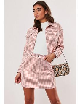 Pink Co Ord Dogtooth Mini Skirt by Missguided