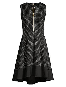 Textured Knit Zip Front Dress by Donna Karan New York