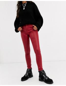 Asos Design   Ridley   Jeans Skinny A Vita Alta Rosso Spalmato by Asos Design