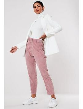 Petite Pink Cord Belted Cigarette Trousers by Missguided