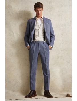 Moss London Slim Fit Blue Herringbone Tweed Suit by Moss Bros