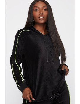 Velour Ribbed Oversized Drawcord Hoodie by Urban Planet