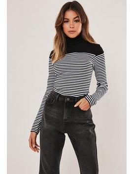 Black Stripe Print Roll Neck Ribbed Long Sleeve Top by Missguided