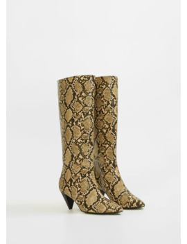 Heel Snake Effect Boots by Mango