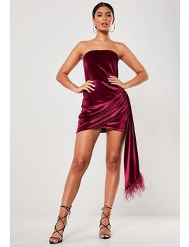 Red Velvet Feather Drape Bandeau Mini Dress by Missguided