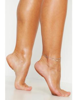 Heart Simple Layered Anklet by Boohoo