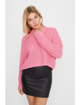 Mock Neck Crochet Cropped Sweater by Urban Planet
