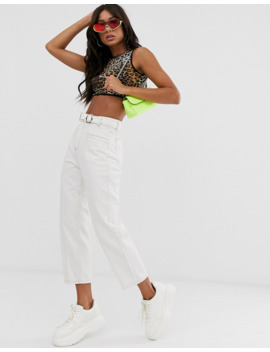 Pretty Little Thing   Jeans Dritti Con Cintura Bianchi by Pretty Little Thing