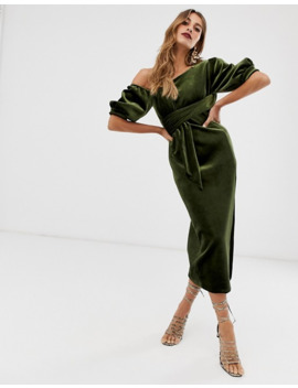 Asos Edition Asymetric Puff Sleeve Midi Dress In Velvet by Asos Edition