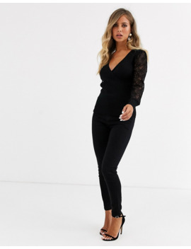 Morgan Wrap Front Jumper With Lace Sleeves In Black by Morgan
