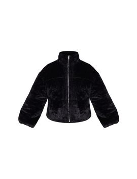 Black Faux Fur Zip Through Bomber by Prettylittlething