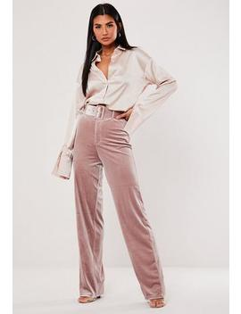 Pink Velvet Belted Straight Leg Trousers by Missguided