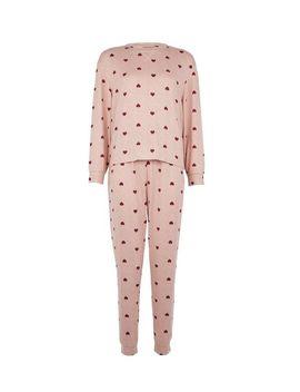Petite Pink Heart Print Pyjama Set by Dorothy Perkins