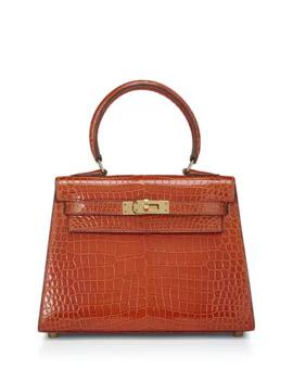 hermès-kelly-20-caiman-crocodile-top-handle-bag,-orange by hermès