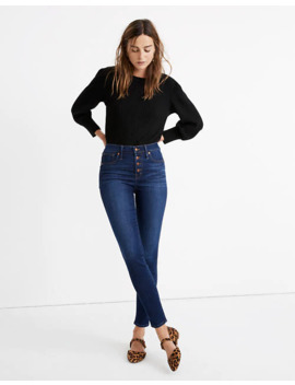 """Tall 9"""" Mid Rise Skinny Jeans In Julie Wash: Button Front Tencel™ Denim Edition by Madewell"""